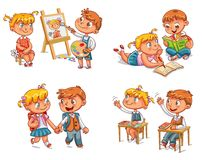 Students put hand up in class room. Girl and boy doing homework together. Schoolboy and schoolgirl go to school holding hands. Boy paints portrait of girl stock illustration