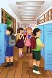 Students put Their Stuff in the Locker Stock Image