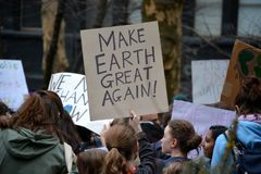 Climate Strike Actions in New York City. royalty free stock photography