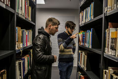 Students and readers in University Library of Humboldt in Berlin royalty free stock images