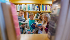 Students reading book in the college library. Group of four students reading book against bookshelf in the college library Stock Photography