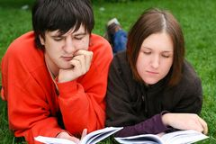 Students reading books Royalty Free Stock Image
