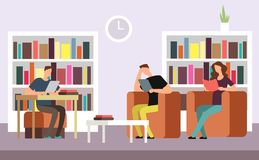 Students reading and searching books in public library interior with bookshelves cartoon vector illustration. People literature studying, education with books Royalty Free Stock Photography
