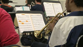 Students reading sheet music in class (2 of 9). A view or scene of School stock video footage