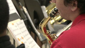 Students reading sheet music in class (4 of 9). A view or scene of School stock footage