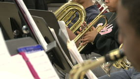 Students reading sheet music in class (3 of 9). A view or scene of School stock video footage