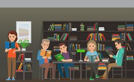 Students Reading Textbook in Library Flat Vector. People reading textbooks in library. Men and women seating and standing with open books in interior with royalty free illustration