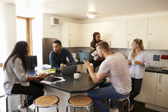 Students Relaxing In Kitchen Of Shared Accommodation royalty free stock photo