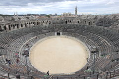 Students in Roman Amphitheater, French Nîmes Stock Photo