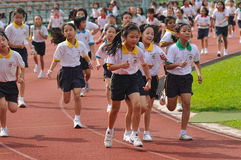 Students in a Running Competition Stock Photos