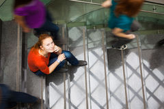 Students rushing up and down a busy stairway Royalty Free Stock Photography