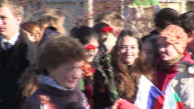 The students of the Russian school in Sofia at the opening of the monument to Likhachev, Bulgaria stock video footage