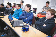 Students. Santiago, Chile. July 21, 2017. Group of small students in robotic scientific activities Stock Photos