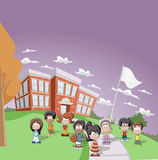 Students in school. Group of Students in front of Elementary school Royalty Free Stock Image