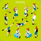 Students Set 01 People Isometric Stock Photography