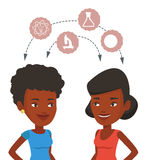 Students sharing with the ideas. African students brainstorming. Two students sharing with the ideas. Students studying together and arrows with school icons Royalty Free Stock Photography