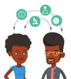 Students sharing with the ideas. African students brainstorming. Two students sharing with the ideas. Students studying together and arrows with school icons Royalty Free Stock Photos