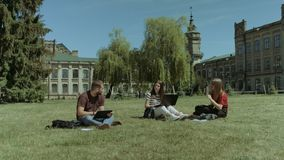 Students sharing with the ideas on the campus lawn. Group of university students sharing with the ideas on the campus lawn while studying together with smart stock video