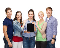 Students showing blank tablet pc screen Stock Image