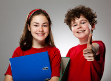 Students showing Ok sign Royalty Free Stock Images