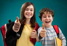 Students showing Ok sign Stock Photos
