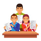 Students showing their test papers with A results Stock Image
