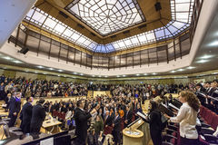 Students singing Gaudeamus. Young students attend the opening of the academic year royalty free stock photos