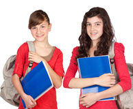 Students sisters with backpack Stock Photos