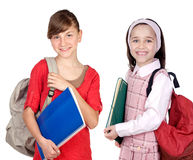 Students sisters with backpack Royalty Free Stock Images