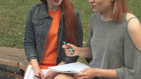 Two girls studying outdoors stock footage