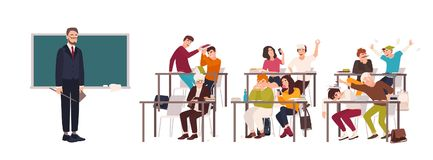 Students sitting at desks in classroom and demonstrating bad behavior - fighting, eating, sleeping, surfing internet on stock illustration