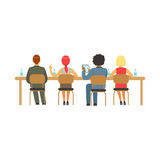 Students sitting at desks at college or university auditorium, back view, high school education vector Illustration Stock Image