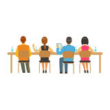 Students sitting at desks and listening at college or university auditorium, back view, high school education vector Royalty Free Stock Image