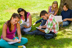 Students sitting in park studying reading writing. Teens campus schoolyard Royalty Free Stock Photo