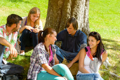 Students sitting in park talking smiling teens. Leisure campus schoolyard Stock Photo