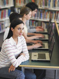 Students Sitting In Row Using Laptops In Library Stock Image