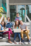 Students sitting on steps studying Royalty Free Stock Photo