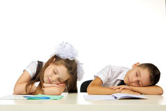 Students are sleeping on the desk Stock Photos