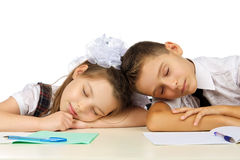 Students are sleeping on the desk Stock Photography