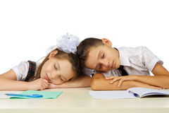 Students are sleeping on the desk Royalty Free Stock Image