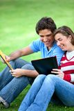 Students smiling outdoors Stock Images