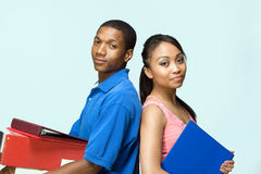 Students Standing Back to Back - Horizontal royalty free stock photography