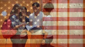 American flag video. Students standing in front of lockers in school against american flag background stock footage