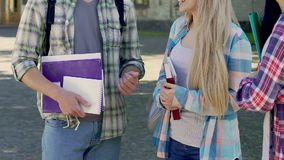 Students standing together and talking, university friendship, communication. Stock footage stock video