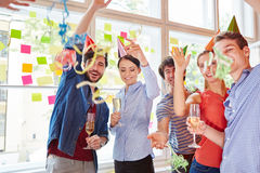 Students from start-up partying. In carinval celebration as team Stock Photography