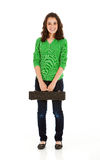 Students: Student Musician Standing With Flute Case Royalty Free Stock Image