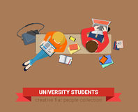 Students study on bench: education flat vector laptop book Royalty Free Stock Photo