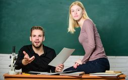 Students study before exam. ertificate proves successfully passed university entrance exam. Students in classroom. Chalkboard background. Education concept royalty free stock images
