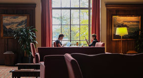 Students study in the Memorial Union lounge, Oregon State Univer Royalty Free Stock Photos