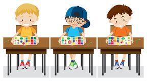Students study shapes and colours. Illustration stock illustration